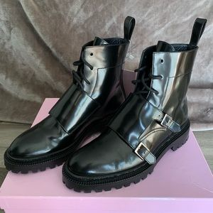 Lace-up monk boots with buckles, black leather